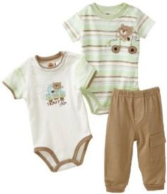 Baby Grand Baby-Boys Newborn 3 Piece Printed Solid Creeper And Pant Set, Beige, 0-3 Months