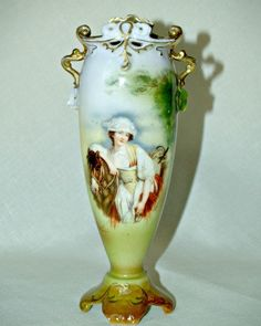 Antique ROYAL BAYREUTH Artist Signed Elegant / This is an antique Royal Bayreuth slender vase with elegant detail. On the front is a portrait of a Victorian lady and her horse /39