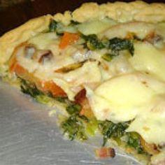 Receita de Torta de Pizza - Massa:, 2 xícaras (chá) de leite, 3 ovos, 1 ½ xícara (chá) de óleo, 2 colheres (chá) de sal, 1 xícara (chá) de amido de milho, 1...