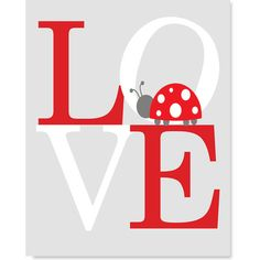 Love Nursery Art Print Girl's Room Decor Ladybug Nursery Red Gray... ($14) ❤ liked on Polyvore featuring home & living, home décor, light pink, wall décor and wall hangings