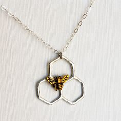 Rachel Pfeffer sterling silver honeycomb necklace with gold plated bee $44.25, now on Fab.