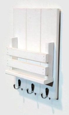 """Collect your keys, tablets, mail and more in this stylish Mail Station with Hooks - 10 1/2"""" x 15"""". Made of sturdy wood with a rustic vibe and distressed finish, this handy shelf was inspired by vintag #woodworkingideas"""