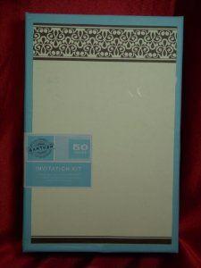 Amazon Com Gartner Invitation Kit 50 Count Chocolate Ivory Scroll Office Products