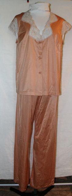 Vintage Henson Kickernick Pajamas, Satin, Peach, 1950's Era by ilovevintagestuff on Etsy