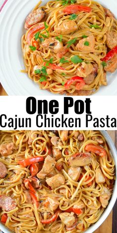 One Pot Cajun Chicken Pasta | Serena Bakes Simply From Scratch Cajun Chicken And Sausage Pasta Recipe, Great Chicken Recipes, Best Dinner Recipes, Spaghetti Recipes, Pasta Recipes, Cooking Recipes, Easy Family Meals, One Pot Meals, Family Recipes