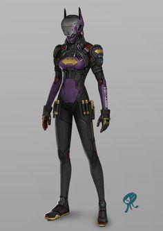 ArtStation - BatBot Girl, Robots and Toaster helmets, Serge Birault
