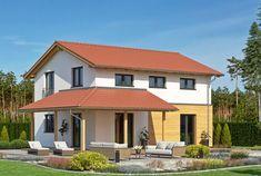 Sie schätzen das zeitlose Design eines Landhauses, wollen zugleich aber auch ein Haus mit modernem Touch? Dann ist das Fertighaus Haas O 130 B vielleicht Ihr Traumhaus. Der klassische Landhausstil wird durch das rote Satteldach und die partielle Holzverkleidung erzeugt. Gleichzeitig lockert die über Eck gestaltete Terrassenüberdachung die Architektur des Hauses auf. Mit der großen Terrasse und modernen Lounge-Möbeln erhält das Einfamilienhaus beinah mediterranes Flair.  Innen bietet Ihnen… Wood Cladding, Country Style Homes, Lounge Furniture, Corner Designs, Timeless Design, Terrace, Gazebo, Outdoor Structures, Mansions