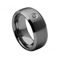 Tungsten Carbide Ring with 0.04ct Black Diamond Center