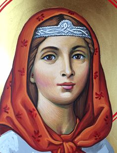 Icon of St. Dymphna from MonasteryIcons.com in the early stages.
