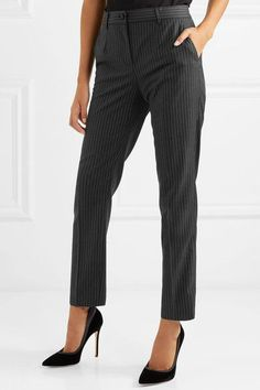 Dolce & Gabbana - Pinstriped Wool Slim-leg Pants - Gray