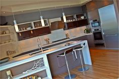 Upper height high gloss and veneer combo Bay Area, High Gloss, Contemporary, Kitchen, Table, Furniture, Home Decor, Cooking, Decoration Home