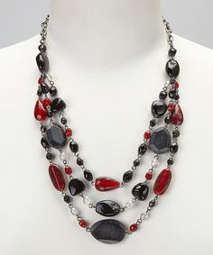 Black & Ruby Red Beaded Three-Strand Glass Necklace
