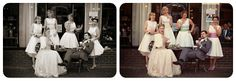 Wedding couple and bridesmaids outside the Edwardian Tea Room, Avoncroft Museum of Historic Buildings (avoncroft.org.uk). Pretty vintage style. Eleta Newby Photography.