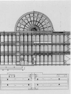 Parte frontal (LH) y la parte trasera vista (RH) y una visión general de Crystal Palace de Londres (Paxton). 1851.. Crystal.Palace.Paxton.Plan