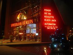 ENTERTAINMENT. Spielbank Berlin. Parked next to the glass-fronted Potsdamer Platz Theater, the Spielbank claims to be Germanys largest casino, with tables and machines spread over three floors. The gaming areas are split into Classic Play (roulette, black jack and poker), a