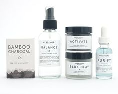 Ultimate Combination / Oily Skin Care Set. 100% Natural. Vegan. Charcoal Mask. Blue Clay Mask. Purify Serum. Facial Soap.