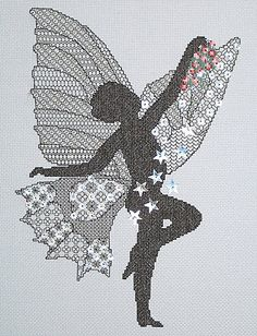 Star Dust Blackwork with Cross Stitch Kit by Classic Embroidery