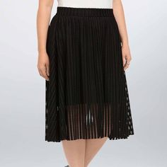 Torrid midi skirt A style standard - the A-line skirt - looks to the future with black mesh stripes. An eye-catching texture (that's even more fun to move in) the mixed stripe design shakes up the classic silhouette. Slip underlay provides coverage. Zip back. Size 18. New with tags. torrid Skirts Midi