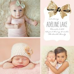Brilliant Bow: Chenille Winter Girl Birth Announcement. #birthannouncements #TopPin