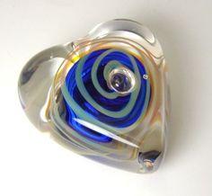 Karg Hand Blown Glass Cobalt Blue Heart Paperweight