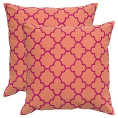 Cotton pillow with an orange quatrefoil motif.    Product: PillowConstruction Material: Cotton cover and polyester fi...