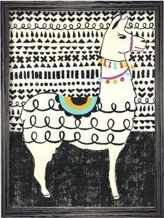 Courtside Market Party Llama (Framed Canvas)