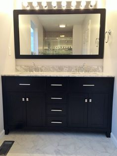 Master Bath Remodel by BlankSpace LLC, Pittsburgh PA. Espresso Double-Sink Vanity with Carrara Marble Top; Marble-Look Porcelain Floor Tile.