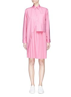 Cedric Charlier Asymmetric shirt panel plissé pleated dress
