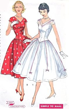 1950s Lovely Full Skirt Party Dress Pattern Simplicity 1518 V Neckline Flattering Long Line Bodice Full Skirt Simple To Make Bust 30 Vintage Sewing Pattern