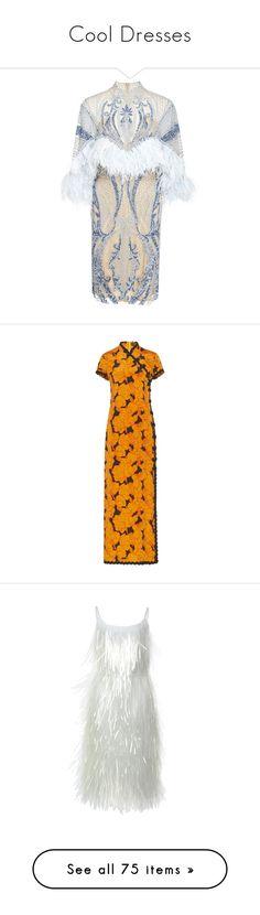 """Cool Dresses"" by andreearaiciu ❤ liked on Polyvore featuring dresses, mini dress, high neck mini dress, high neckline dress, short beaded dress, feather trim dress, front slit dress, orange asymmetrical dress, midi dress and high neck long dress"