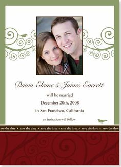 Holiday Save The Date Engagement Announcement