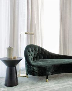 David Collins, Bangkok Apartment. Deep Green Chaise.