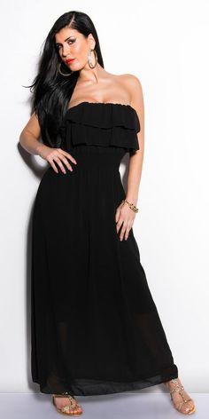 NEW WOMENS LADIES CHIFFON MAXI DRESS SIZE 8 10 STRAPLESS FRILL RUFFLE GYPSY BOHO