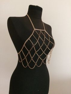 rose gold chain bralette body chain body jewelry bod by MukoShop