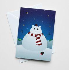 Cat christmas card, festive kawaii kitty snowman snow cat, xmas card with little robin