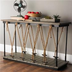 Industrial Rope and Wood Console