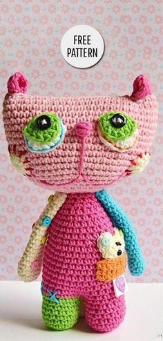 Crochet Patterns For Kids Amigurumi Rainbow Cat Free Pattern Crochet Cat Toys, Crochet Art, Crochet Toys Patterns, Crochet For Kids, Crochet Animals, Amigurumi Patterns, Stuffed Toys Patterns, Amigurumi Tutorial, Cat Amigurumi