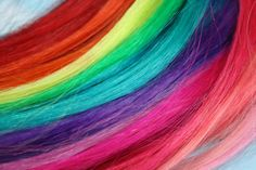 Colorful Human Hair Extensions, Colored Hair Extension Clip, Hair Wefts, Clip in Hair, Tie Dye Hair Extensions