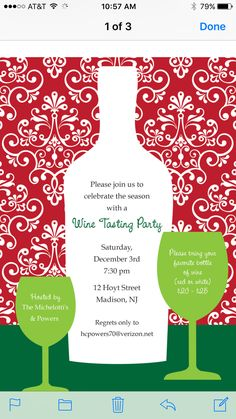 Holiday Wine Tasting Invitation  Credit to Sweetwishesstationery.com