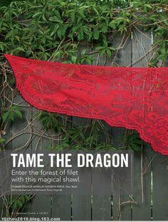 Filet crochet dragon shawl chart in Russian -- a1 (530x700, 165Kb)