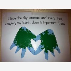 "Earth day craft, use recycled paper from the copy room, fold paper in half and trace hands with pointer finger and thumb on the fold (this is the area that won't get cut to create the heart) cut it out and have them sponge paint the ""land"" onto the earth. My kids loved it!"
