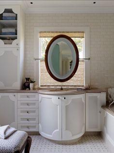 Cabinet profile, mirror hung from window