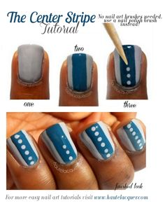 The Center Stripe Nail Art Tutorial from 3 Easy Beginner Nail Art Tutorials | No Nail Art Brushes Required Post