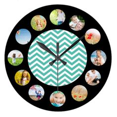 Blue Chevron Zig Zag Pattern Photo Collage Large Clock find more personalized clocks at www.mouseandmarker.com