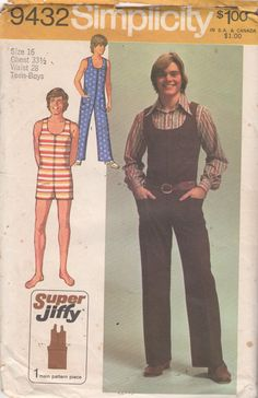bedc9eb6e1b 1970s Simplicity 9432 Teens Zip Front Sleeveless Jumpsuit Pattern U Neck  Romper Easy Mens Vintage Sewing Pattern Size 16 Chest 33