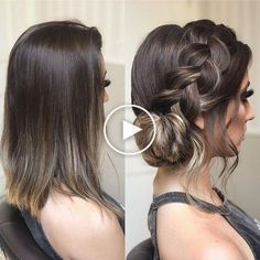 Hairstyles With Bangs Ideas Click and see the coolest easy updos for medium hair you can try out at home! Enjoy these beautiful ponytails braids and mixes of all of them! 150 Honestly Easy Hairstyle Ideas For Medium-Length Hair Quince Hairstyles, Bride Hairstyles, Summer Hairstyles, Easy Hairstyles, Hairstyle Ideas, Bob Hairstyle, Medium Hair Styles, Curly Hair Styles, Braids For Short Hair