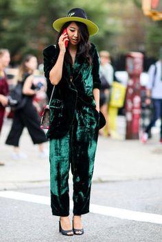 Pants: cropped velvet tumblr green velvet velvet hat streetstyle blazer velvet blazer green sandals