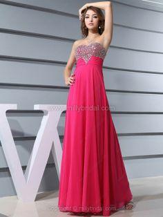 A-line Sweetheart Chiffon Ankle-length Rhinestone Prom Dresses