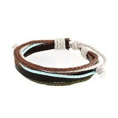 Home / Bling Jewelry Blue Turquoise Color Multi Cord Brown Leather ...