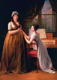 I like this, the mother in the older style and the daughter much more modern. Baron Francois-Pascal-Simon Gerard, Comtesse de Morel-Vinde and her Daughter (or The Music Lesson) 1799 Fine Arts Museums of San Francisco Jane Austen, Gabrielle D'estrées, Agnes Sorel, Charles X, Portrait, Regency Era, Auguste Rodin, Empire Style, Music Lessons